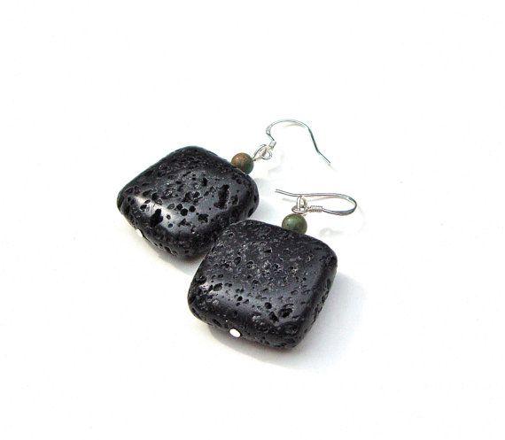 Square black earrings - lava rock earrings - rustic stone earrings - geometric - tribal earthy - rustic earrings