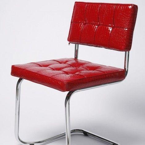 KARE Prague - Cantilever Chair Expo Shiny Croco Red