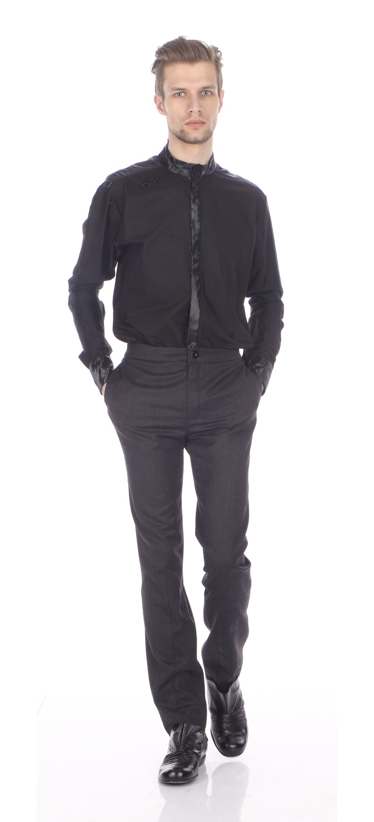Shirt ( silk, cotton), trousers ( wool), shoes ( leather)