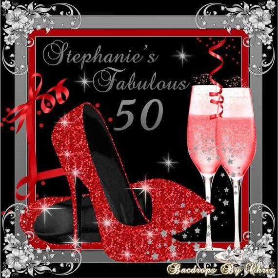 50th Birthday Backdrop High Heels Red Silver Backdrop Etsy In 2020 Birthday Backdrop Birthday Party Background 50th Birthday