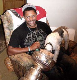 Dustin Byfuglien and his dog, Walter