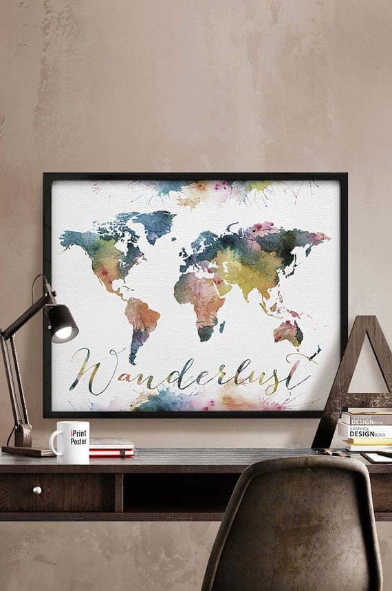 Wanderlust impresión, gran mapamundi mapa mundo acuarela, mundo mapa imprimir, poster de mapa mundo, mapa de viaje, arte, decoración del hogar, iPrintPoster de la pared.