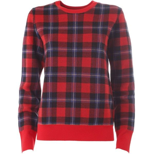 Equipment Shane Check Plaid Pull (7.416.715 VND) ❤ liked on Polyvore featuring tops, sweaters, rosso, red plaid top, wool sweaters, plaid top, red wool sweater and long sleeve tops