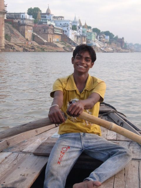 Our smiley boatman on the Ganges