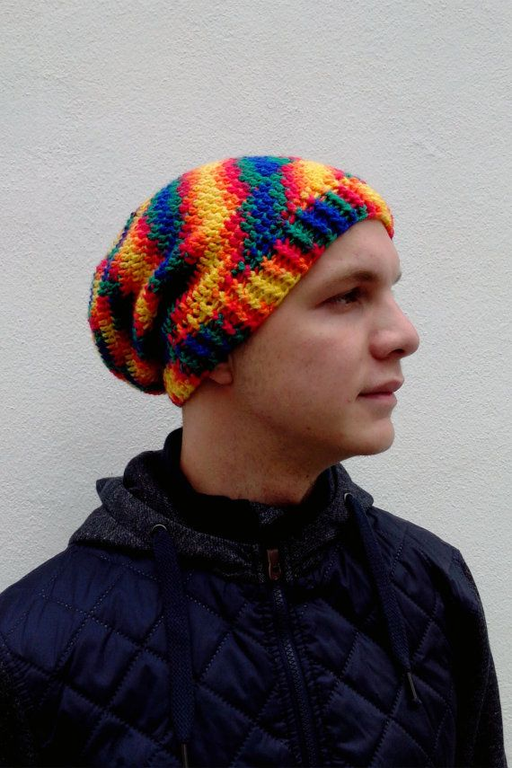 Mens hat  Colorful slouchy beanie hat Fun crochet by HappyWoollies, Slouchy hats shop