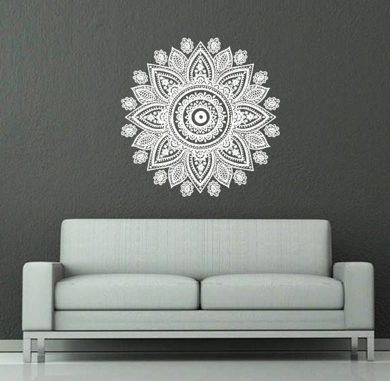 Wall Decal Vinyl Sticker Decals Art Home Decor Mural Mandala Ornament Indian Geometric Moroccan Pattern Yoga Namaste Lotus Flower Om