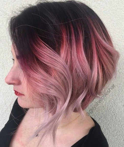Ombre, Wavy Bob Haircut - Black and Pink Hair Color