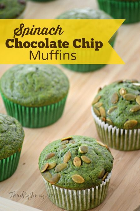 Spinach Chocolate Chip Muffins Recipe - This healthy muffin recipe is not only packed with nutrition, but super delicious too!