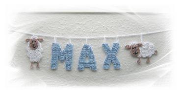 gehäkelte Schäfchen Girlande mit Namen, crochet sheep garland, Buchstaben