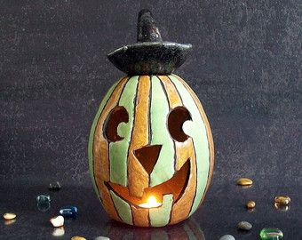 Portacandele zucca di Halloween, zucca di halloween in ceramica raku, diffusore oli essenziali, bruciaessenze di halloween, idea regalo