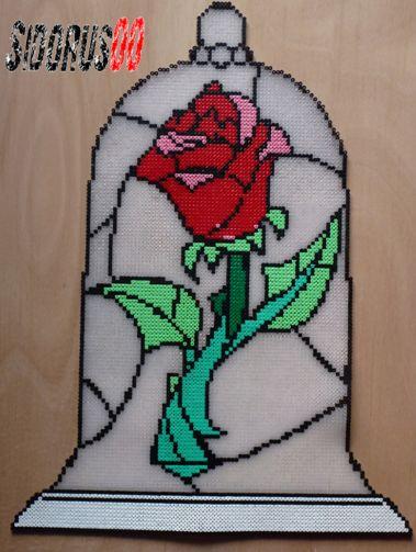 Rose - Beauty and the Beast hama perler beads by Sidorus00