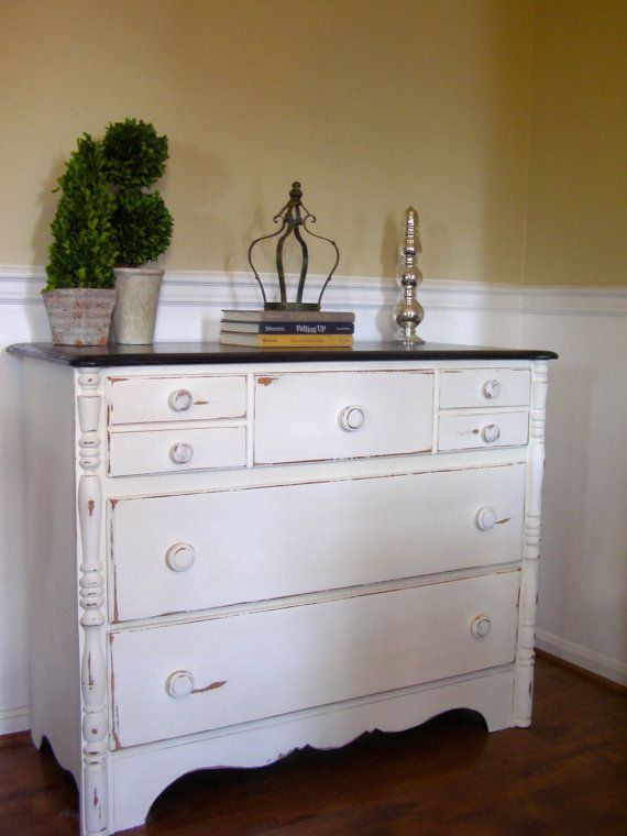 White Distressed Dresser With Rich Brown Stained By