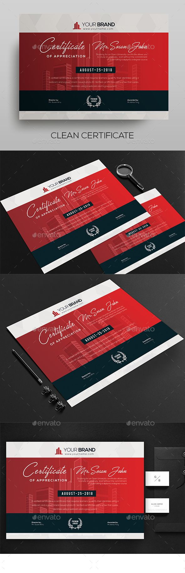 Certificate Certificate Template  Fully Clean Certificate 8.27×11.69 Size With Bleeds Quick and easy to customize templates Any Size Changes Fully Group Layer Free Fonts Use Fully Vector