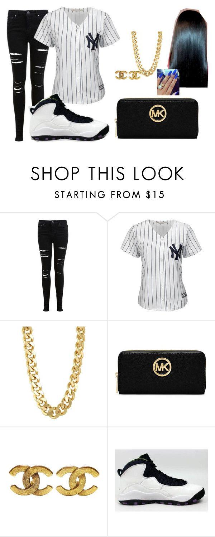 """Baseball Jersey Outfit"" by tiffaniek ❤ liked on Polyvore featuring moda, Miss Selfridge, Majestic, CC SKYE, MICHAEL Michael Kors, Chanel ve NIKE"