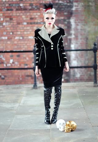 Velvet cut out punk grunge gothic Slash Arms Jacket from Pretty Disturbia