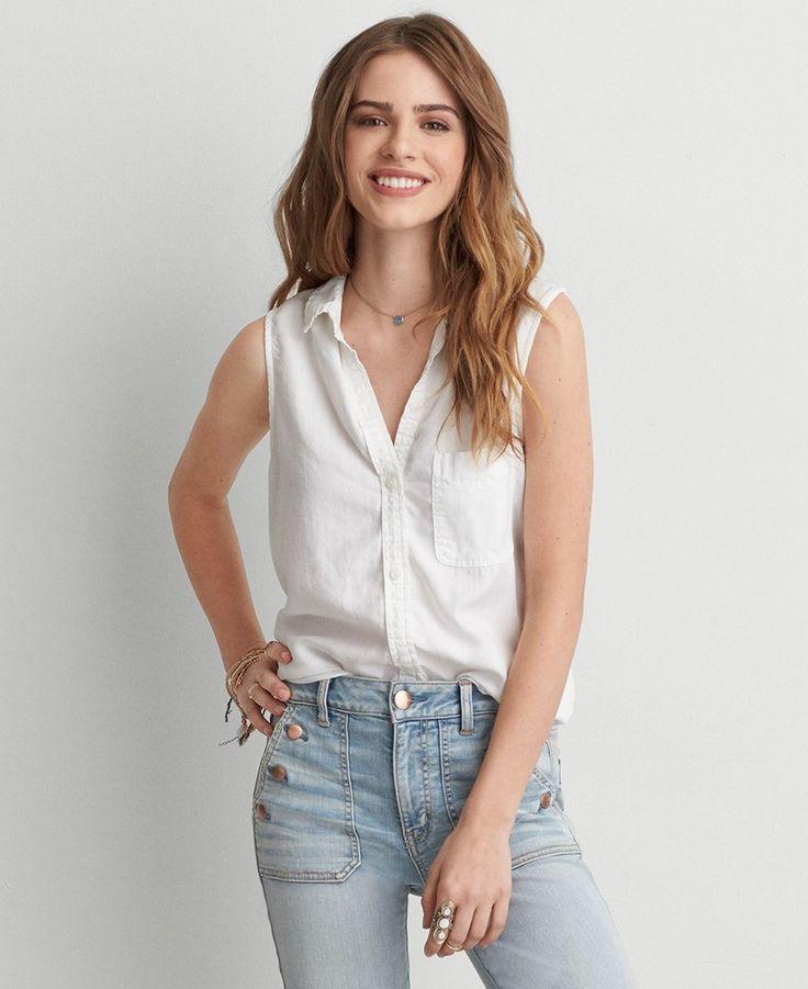 Купить женская рубашка American Eagle Sleeveless Button Down Shirt в интернет-магазине Drez.ru
