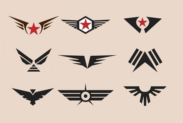 military badges collection vintage style