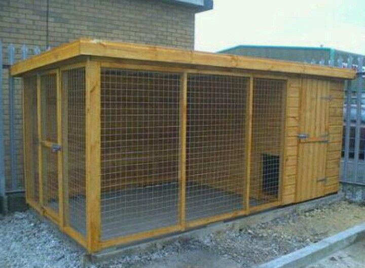 Outdoor dog kennel and run.