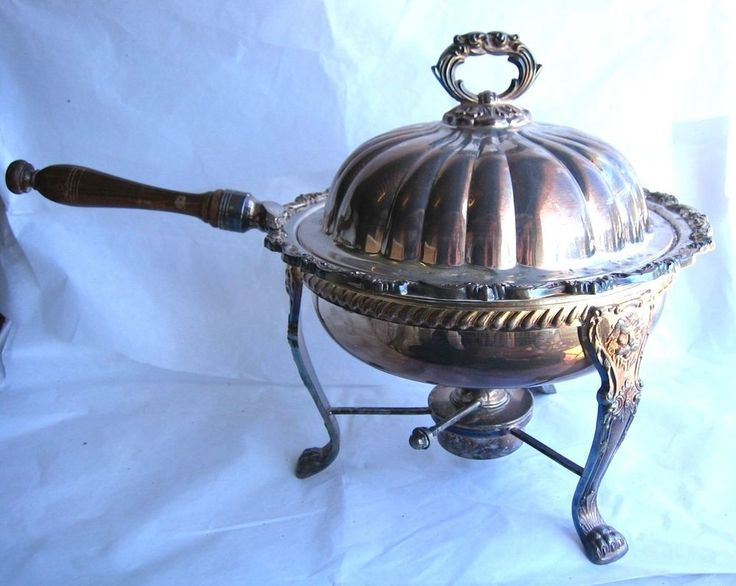 Old English Poole Silverplate Ornate Chafing Dish 5030 W/ Burner Lions on Stand  US $69.95 in Antiques, Silver, Silverplate