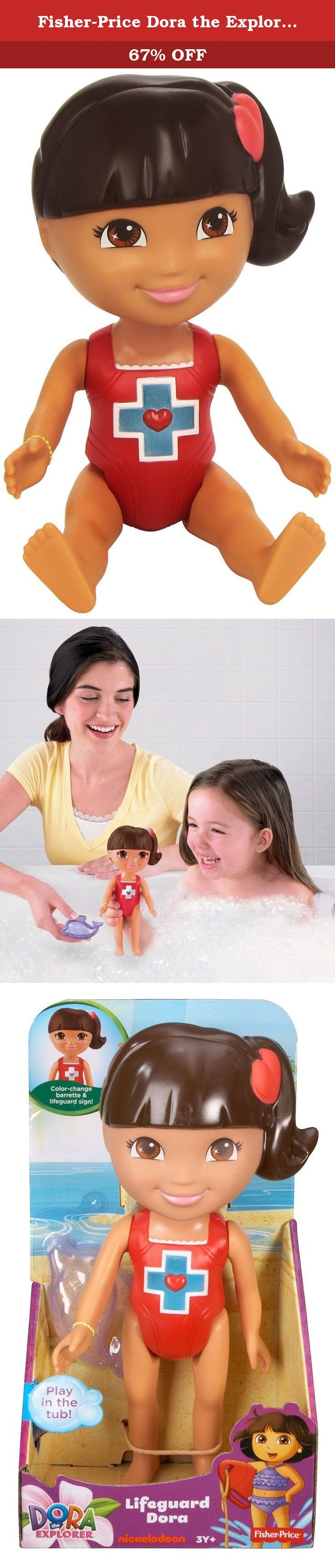 Fisher-Price Dora the Explorer: Bathtime Lifeguard Dora. Join Dora for a magical bathtime adventure! Simply use warm water to change the color of Dora's barrette and the lifeguard sign on her bathing suit! Dora features poseable arms and legs and also comes with a dolphin-shaped water scooper!.