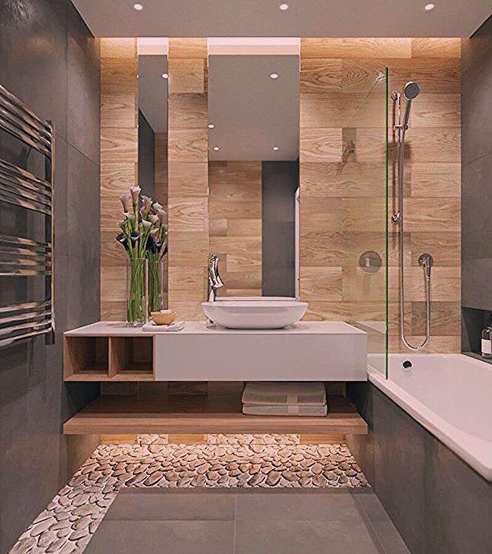 salle de bain moderne grise avec