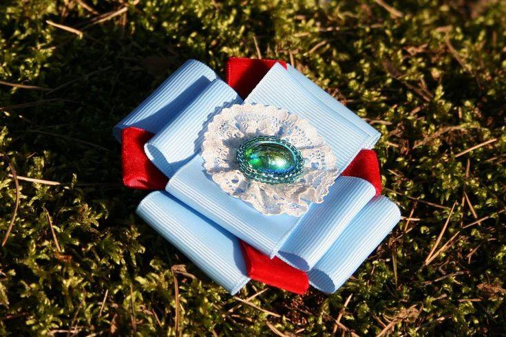 Купить Брошь-орден Lui. - комбинированный, однотонный, репсовая лента, бархатная лента, орден, кабошон