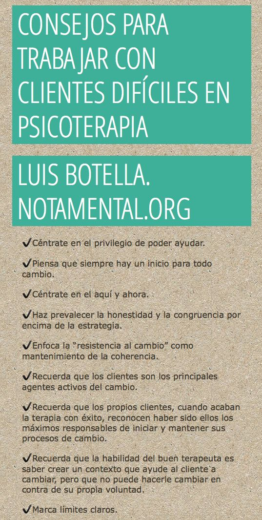 Clientes difíciles. Psicoterapia. Psychotherapy.