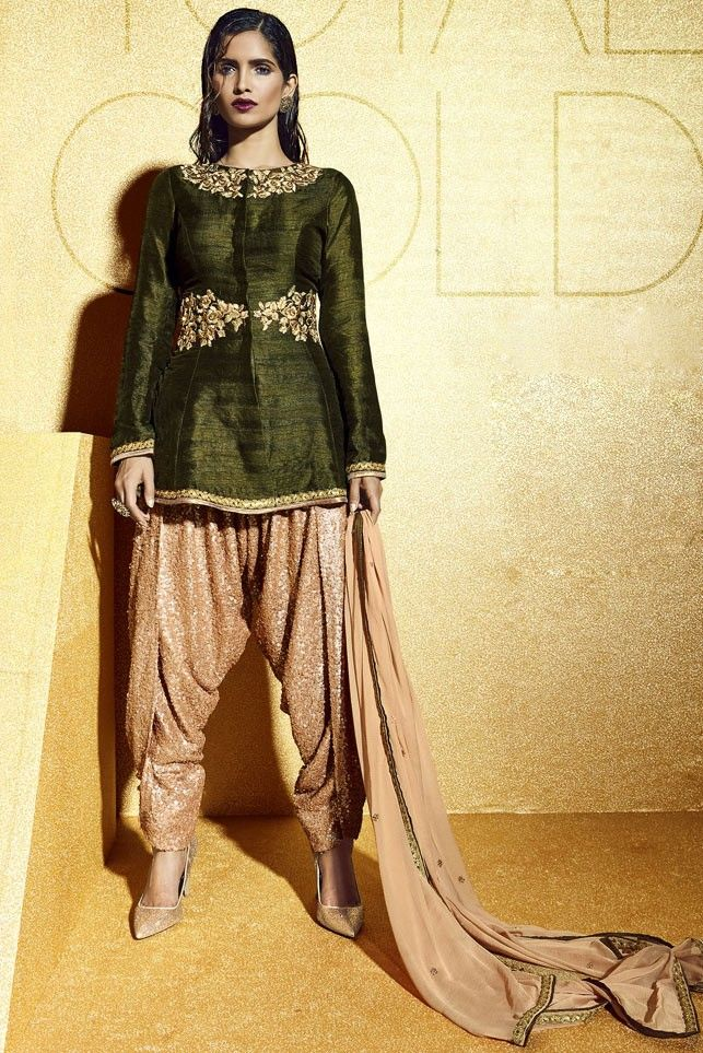 Green Bhagalpuri Silk Dhoti Style Suit with Dupatta - SALWAR KAMEEZ - Women