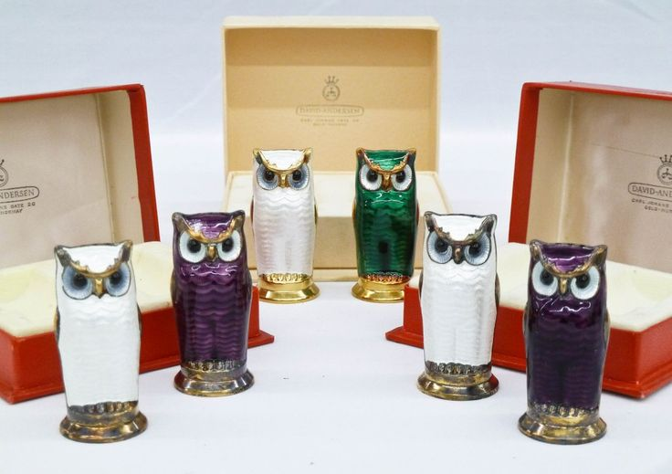 (3) Pairs David Andersen Norway Enameled Sterling Owl Salt & Pepper Shakers. I want them, I want them, I want them.