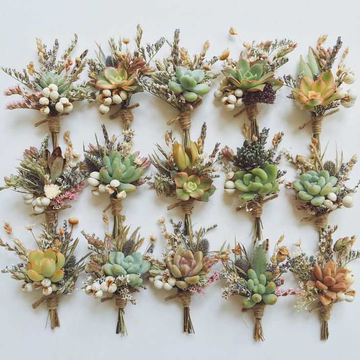 Today's boutonnieres, full of succulents, dried wild flowers, herbs, and berries.  Our Flower Fields option on @etsy