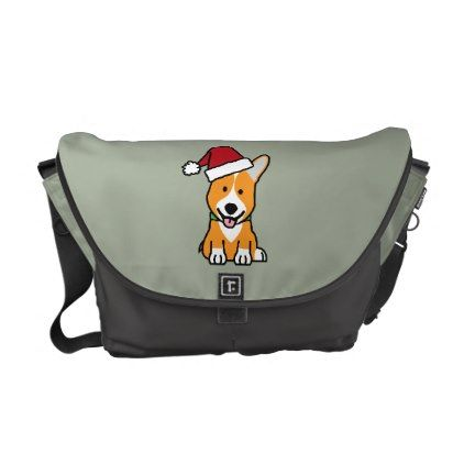 #Corgi dog puppy Pembroke Welsh Christmas Santa hat Courier Bag - #pembroke #welsh #corgi #puppy #dog #dogs #pet #pets #cute #pembrokewelshcorgi