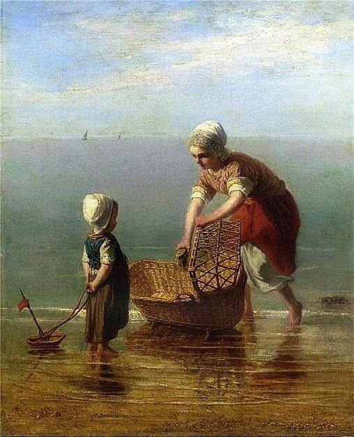 """""""Mother and child by the sea"""" By Jozef Israëls, Dutch painter, and """"the most respected Dutch artist of the second half of the nineteenth century""""(1824-1911) oil on canvas; 62.9 x 78.7 cm; 24.7 x 31 in Private Collection"""