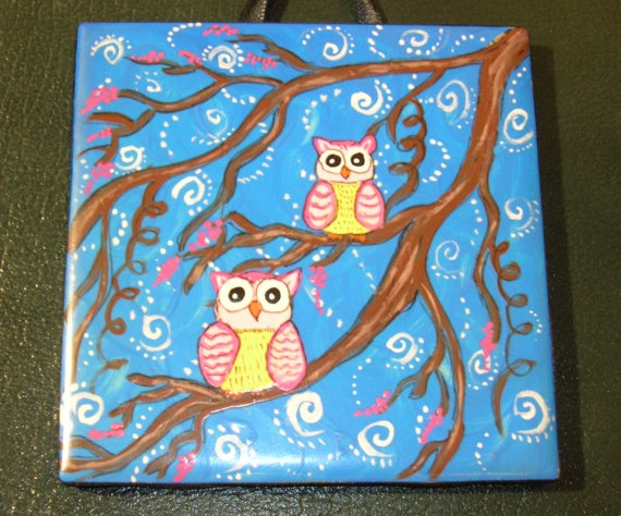 I love these hand painted ceramic tiles by lillyannleona on etsy