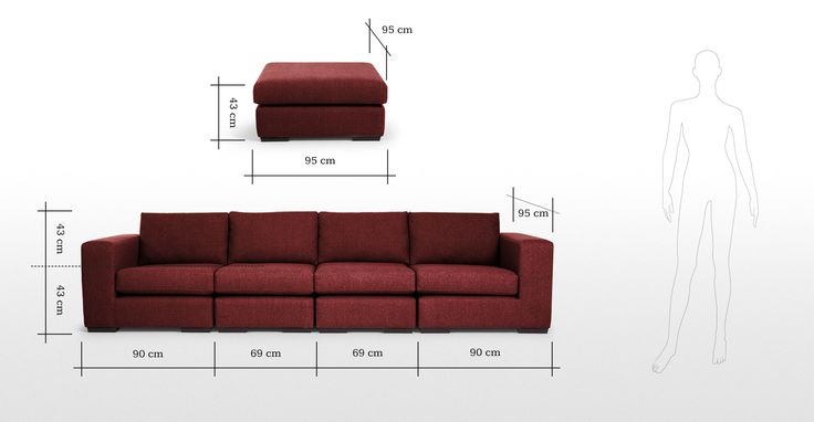 Abingdon Modular Corner Sofa Group in deep red | made.com