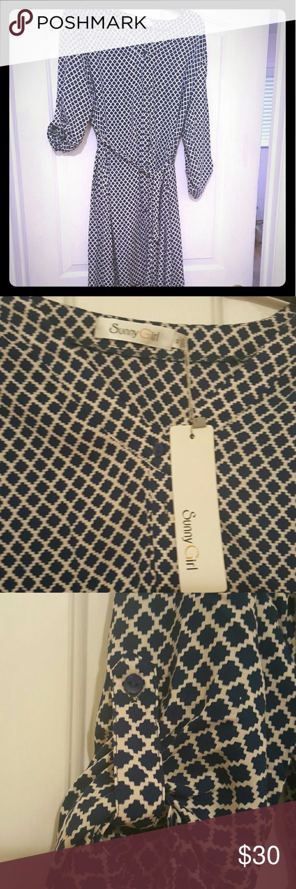 Modcloth Blue and White Shirt dress Knee length blue and white button-up with sash. BNWT Sunny Girl Dresses Long Sleeve