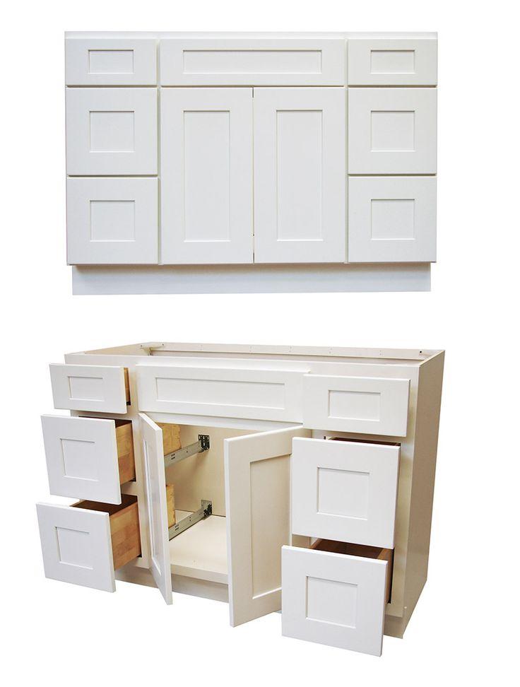 "Elegant White Shaker 48"" Vanity w/ Drawers - RTA Cabinet Store"