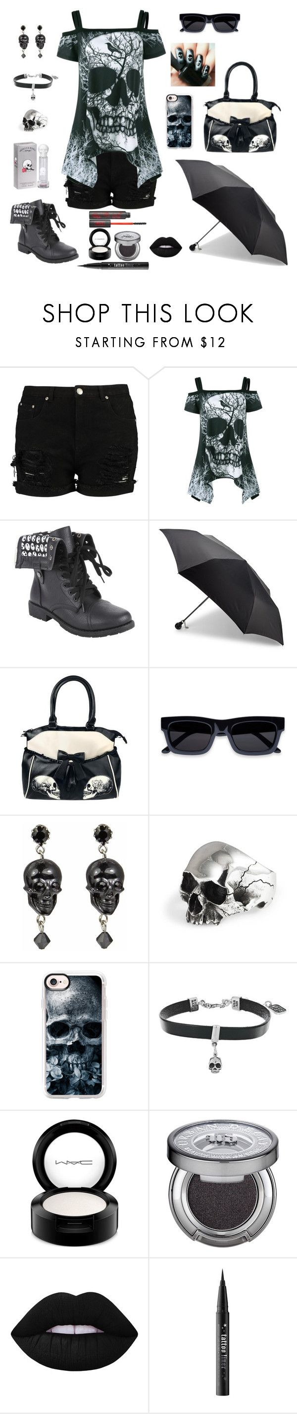"""""""When our lives are over and all that remains, are our skulls and bones, let's take it to the grave..."""" by darksnowwitch ❤ liked on Polyvore featuring Hot Topic, Alexander McQueen, Tarina Tarantino, Casetify, King Baby Studio, MAC Cosmetics, Urban Decay, Lime Crime and Kat Von D"""