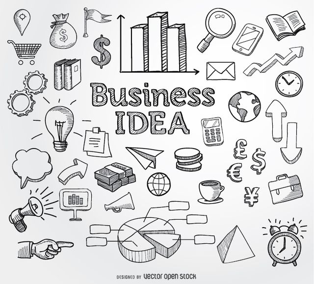 Set of business related hand drawn doodle elements ranging from graphs, pie charts, lightbulb, books, clock, calculator, money and more. High quality JPG