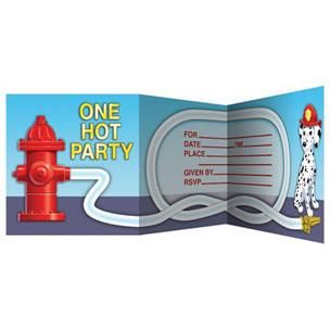 1099 - Firefighter Invitations. Pack of 8 Firefighter Invitations, Z fold.  Pack of 8