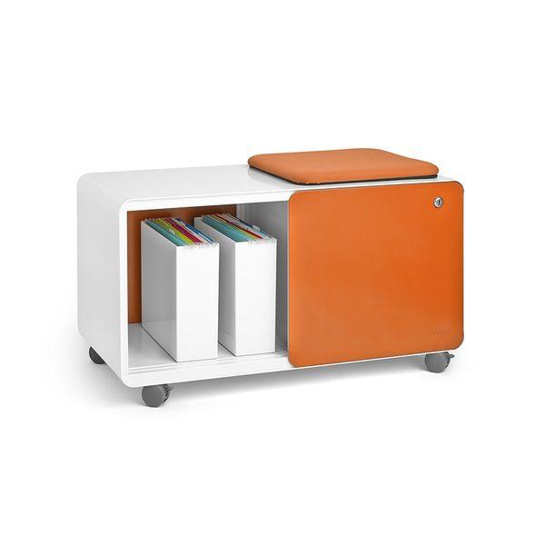 Poppin White Orange Rolling Stash Sliding Door Locker With Pad Desk Accessories And