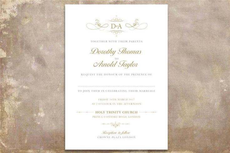 Classic Monogram Printable Wedding Invitation. Gold and grey, gray, script font wedding stationery. Download, customise and print instantly. Order your suite here: http://www.appleberrypress.com/wedding_stationery_1184_Classic-Monogram-Printable-Invitation