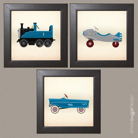 Makes a great gift! | Vintage Toys Framed Children's Print Set | 5.5 square solid wood espresso coloured frames| Available in 4 colours | Simple Sugar Design | $69.99
