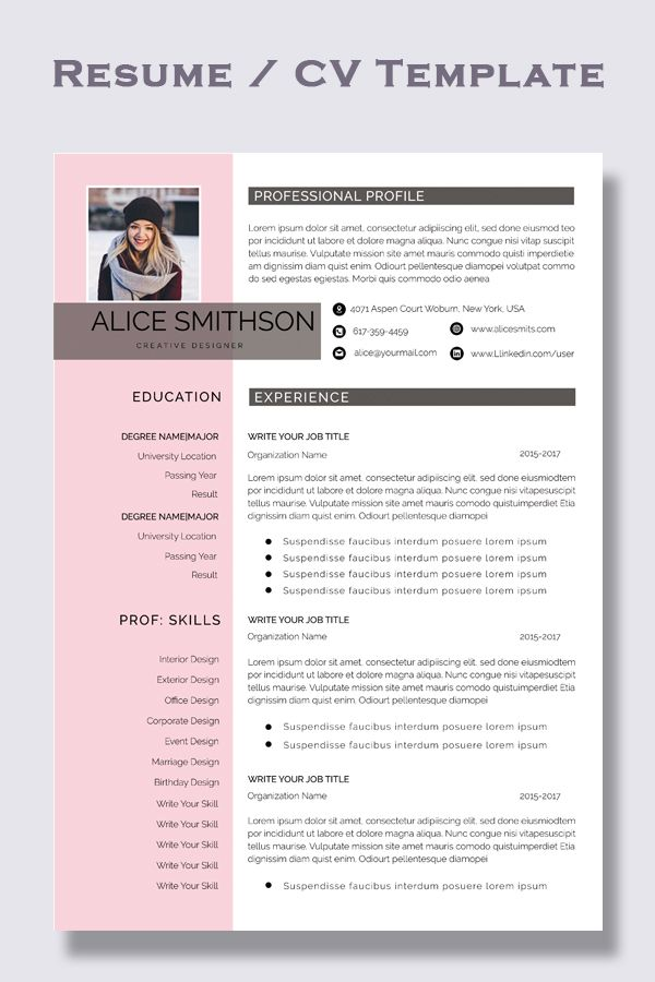 Resume Example Cv Example Professional And Creative Resume Design Cover Letter For Ms Wo Resume Examples Good Resume Examples Professional Resume Examples