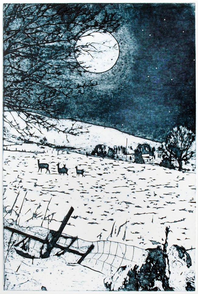 Suzie Mackenzie - 'Full moon, Christmas morning'. Collagraph, 45.5 x 30.5cm.