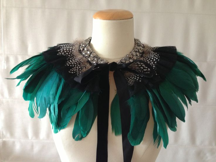 SoniaM Designs Emerald Green Feather Cape, feather cape