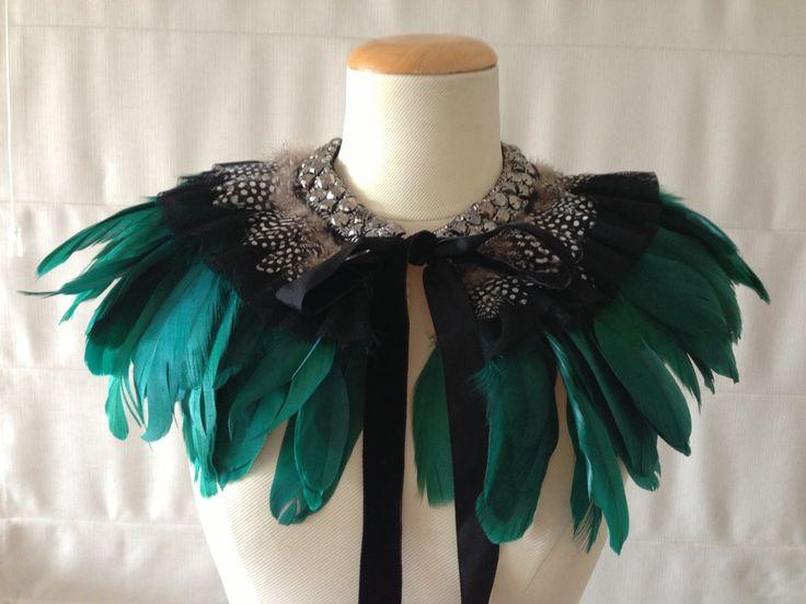 SoniaM Designs Emerald Green Feather Cape, feather cape