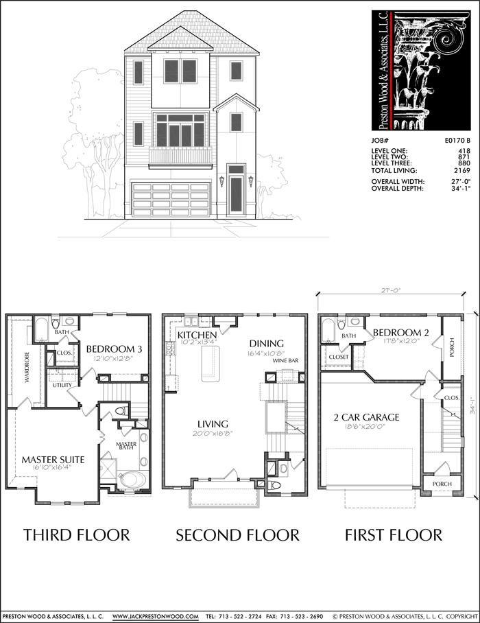 Townhouse Plan E0170 B Condo Floor Plans House Layout Plans House Plans