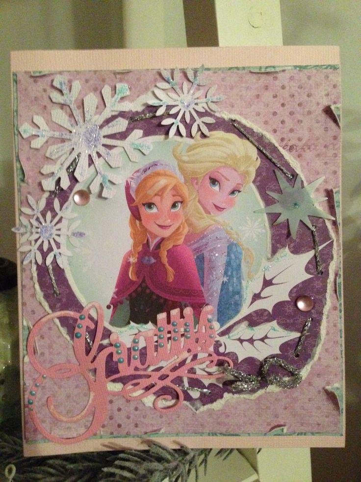 Grattis kort Frost tema . Anna&Elsa.Frozen. Birthday.Birthdaycard.Scrapbooking