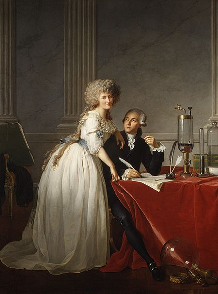 Jacques-Louis David (French, 1748–1825). Antoine-Laurent Lavoisier (1743–1794) and His Wife (Marie-Anne-Pierrette Paulze, 1758–1836), 1788. The Metropolitan Museum of Art, New York. Purchase, Mr. and Mrs. Charles Wrightsman Gift, in honor of Everett Fahy, 1977 (1977.10) #letters #Connections