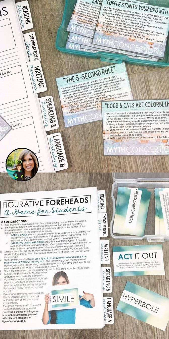 Task cards for high school English | Figurative language game | Games for high school English | Figurative foreheads | Common MYTHconceptions | Sorting through scholarly research | high school English activities